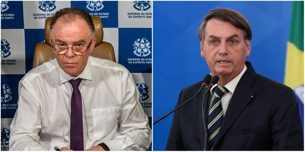 O governador Renato Casagrande e o presidente Jair Bolsonaro