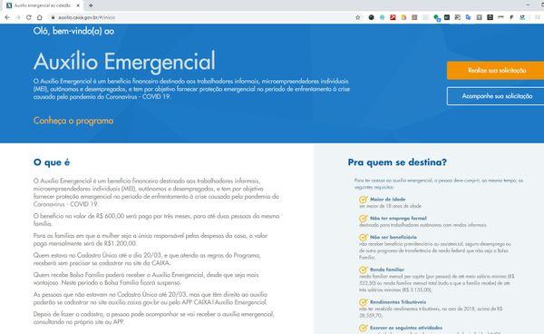 Página do auxílio emergencial já recebe pedidos do benefício