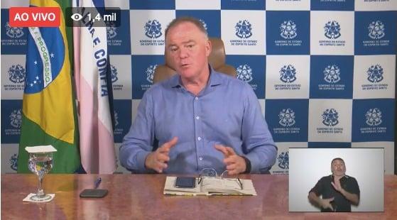 Governador Renato Casagrande em live no Facebook