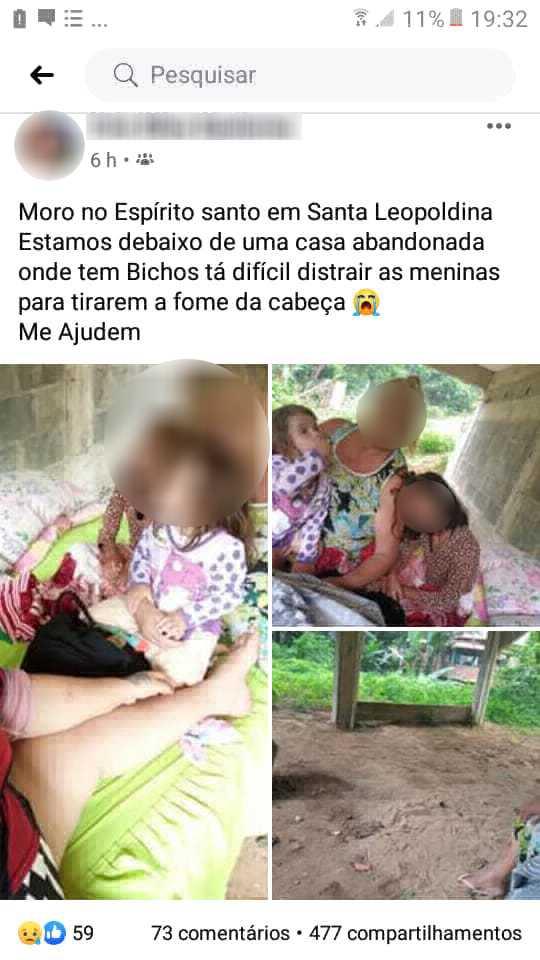 A moradora de Santa Leopoldina usou o Facebook para pedir ajuda aos amigos nesta quinta-feira (9)
