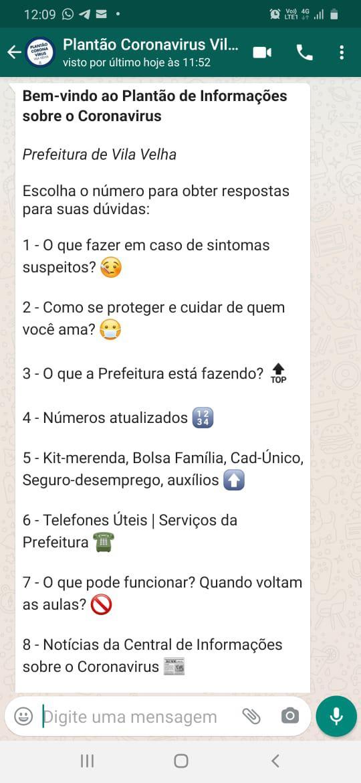 Via whatsapp: Robô vai ajudar na prevenção ao coronavírus em Vila Velha