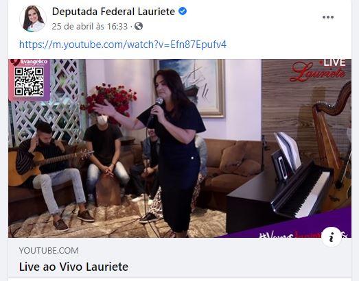 Live musical de Lauriete foi compartilhada em página gerenciada com recursos públicos