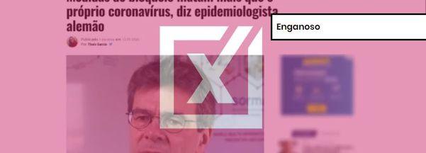 Frase atribuída a médico alemão em site brasileiro não foi dita de forma literal pelo pesquisador