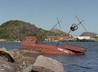 A Caravela Espírito Santo está abandonada em uma área da Glória desde 2011. Crédito: Reprodução/TV Gazeta