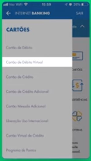 Aba de cartões do aplicativo