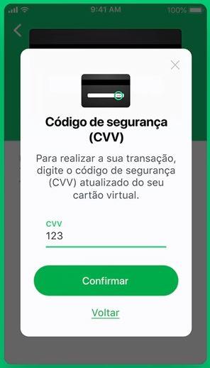 Usuário deverá digitar o código de segurança do cartão da Caixa