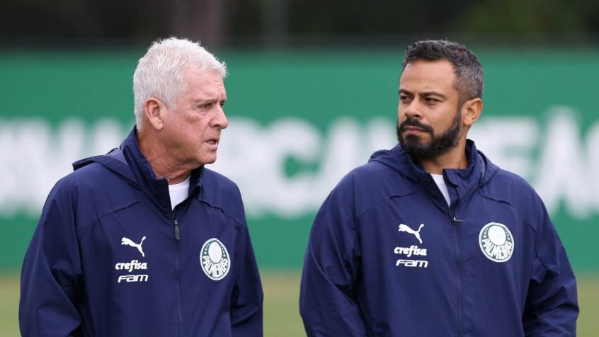 Crédito: Os coordenadores Daniel Gonçalves e Antônio Mello falam das preocupações na volta dos treinos (Agência Palmeiras