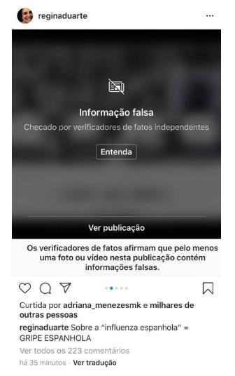 Instagram sinalizou a publicação de Regina Duarte