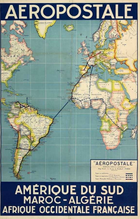 Mapa mostra o itinerário da Aeropostale, cruzando o Atlântico e passando por diversas cidades litorâneas brasileiras (inclusive Vitória) rumo ao Sul