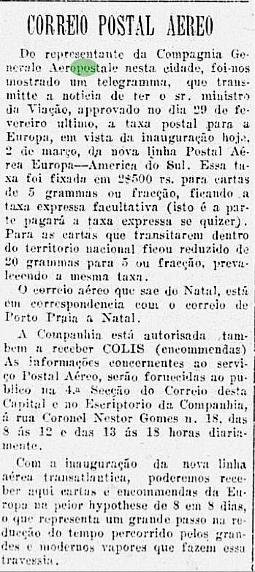 Notícia do Diário da Manhã de 02 de março de 1928, sobre a inauguração de um escritório da Aeropostale em Vitória