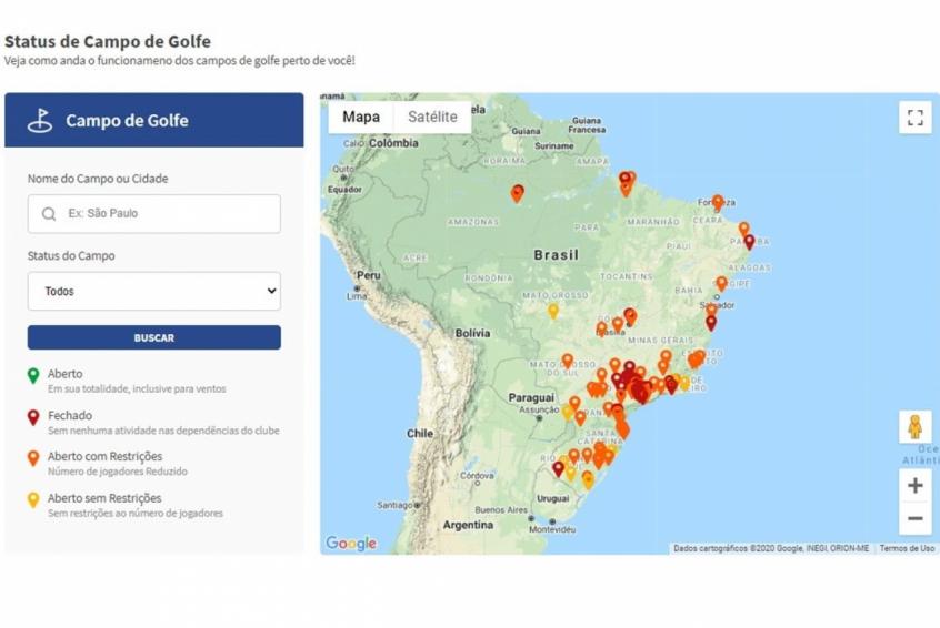 Crédito: Será possível verificar a situação de campos de golfe pelo Brasil (Divulgação/CBGolfe