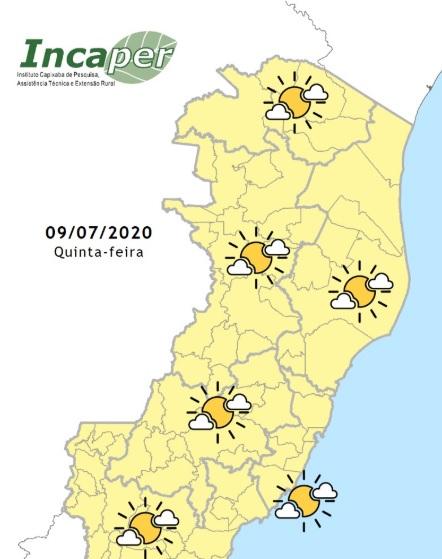 Mapa de previsão do tempo para quinta (9)
