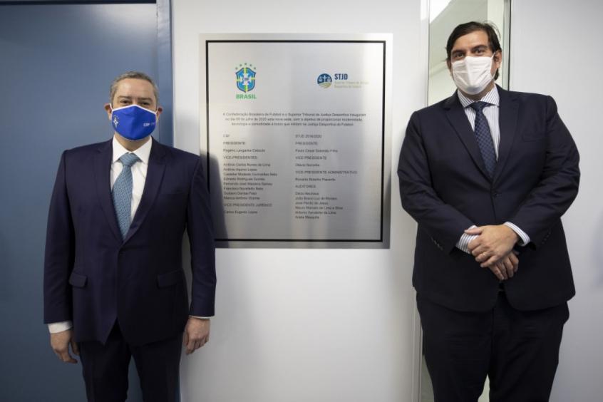 Crédito: Rogério Caboclo, presidente da CBF, e Paulo César Salomão Filho, presidente do STJD (Créditos: Lucas Figueiredo/CBF