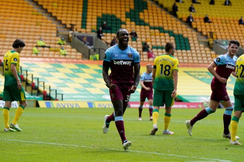 Crédito: Michail Antonio tem manhã inspirada e marca os quatro gols da vitória do West Ham sobre o o Norwich(TIM KEETON/AFP