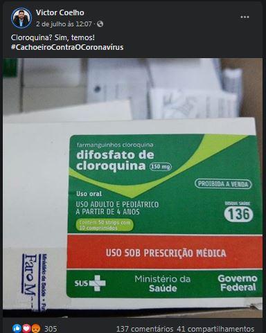 Post do prefeito de Cachoeiro, Victor Coelho, sobre a chegada de doses de cloroquina repassadas pela Sesa