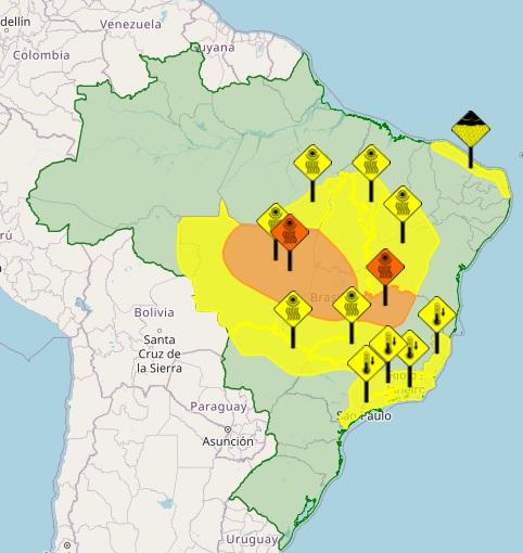 Áreas marcadas em amarelo alertam para baixas temperaturas