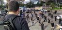 Após o protesto, manifestantes partiram em carreata até o final da Praia de Camburi, em Vitória. Crédito: Lúcia Marins