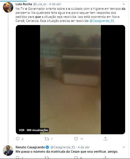 Casagrande responde a comentário de Lula Rocha nas redes