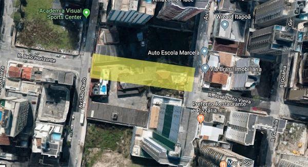 Trecho em amarelo mostra como deve ficar o acesso após demolição do Chalé Motel