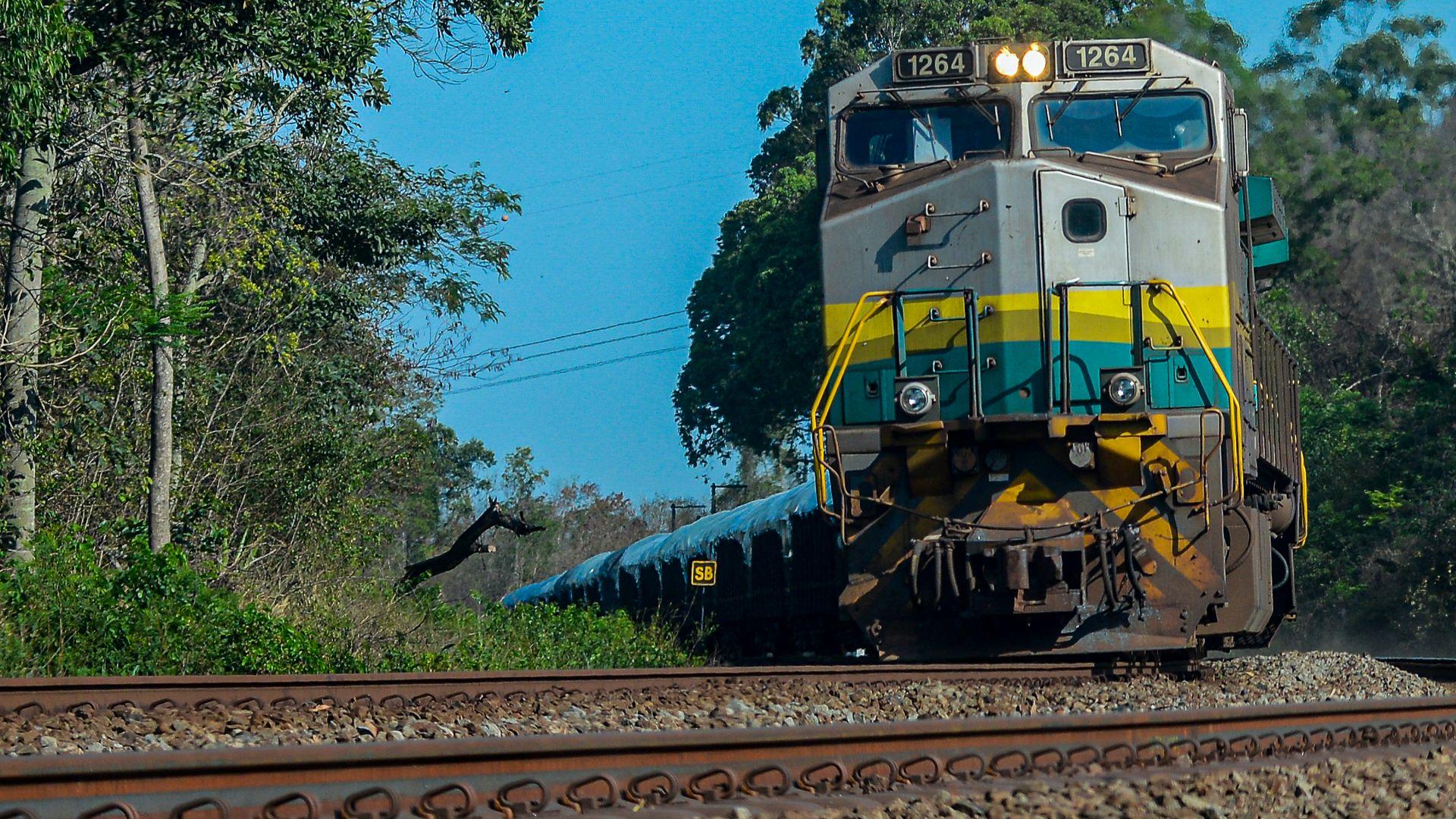 Trem de carga da Vale transportando minério na ferrovia Vitória x Minas, em Serra, ES.