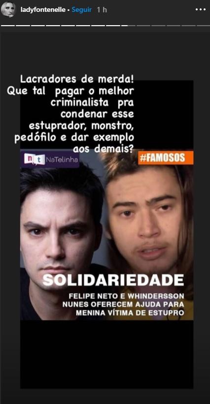 Print mostra storie de Antonia Fontenelle detonando Felipe Neto e Whindersson após anunciarem ajuda a menina de 10 anos grávida vítima de estupros no ES