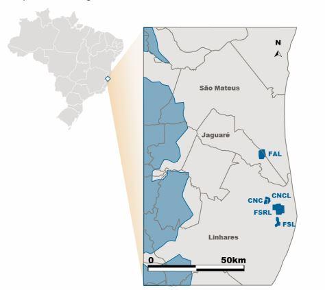Mapa: Polo Norte Capixaba está localizado na Bacia do Espírito Santo, no estado do Espírito Santo, nos municípios de Jaguaré, Linhares e São Mateus