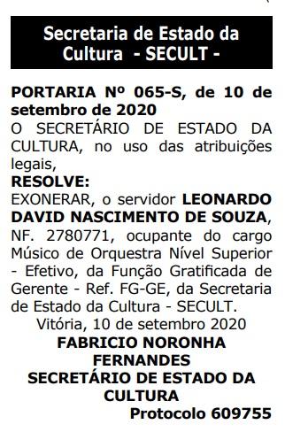 Maestro Leonardo David é afastado do governo após denúncias de assédio