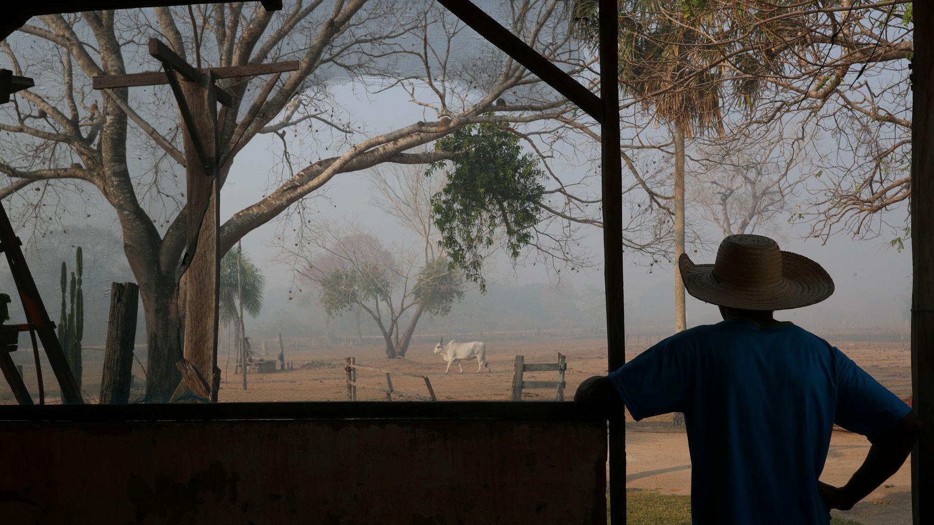 Dorvalino Conceicao Camargo, 56, está na fazenda onde trabalha olhando para a fumaça de uma fogueira, subindo no ar, no Pantanal, maior pantanal do mundo, em Pocone, Mato Grosso, Brasil, 29 de agosto , 2020. REUTERS / Amanda Perobelli