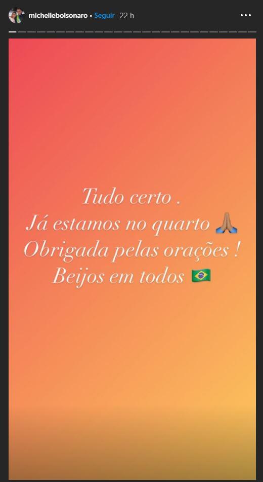 Michelle Bolsonaro escreve no stories do Instagram sobre a recuperação do marido