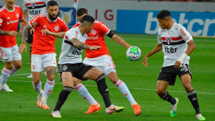 Crédito: Contra o Inter, o São Paulo conseguiu controlar o ataque adversário a maior parte do tempo, mas acabou levando gol de Thiago Galhardo (Pablo Nunes/Photo Premium/Lancepress!