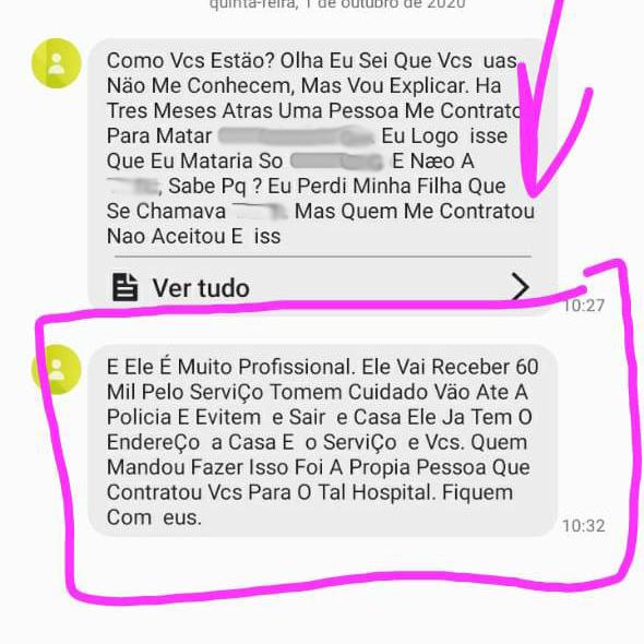 Mensagem anônima é enviada a diretoras de hospital relatando ameaça de morte