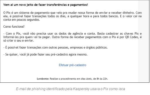 E-mail de pishing identificado pela Kaspersky usava o Pix como isca