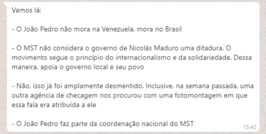 Projeto Comprova: Postagem acusa sem provas MST de ter relação com as queimadas na Amazônia e no Pantanal