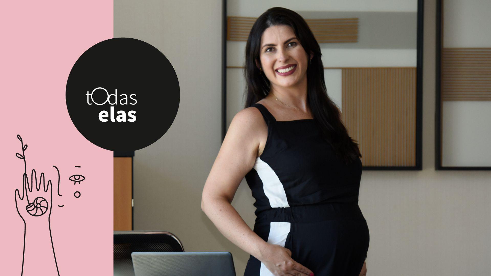 Francis Gome Ferrari, 37 anos, grávida de oito meses. Francis foi contratada como executiva de uma distribuidora de medicamentos quando estava no início da gestação
