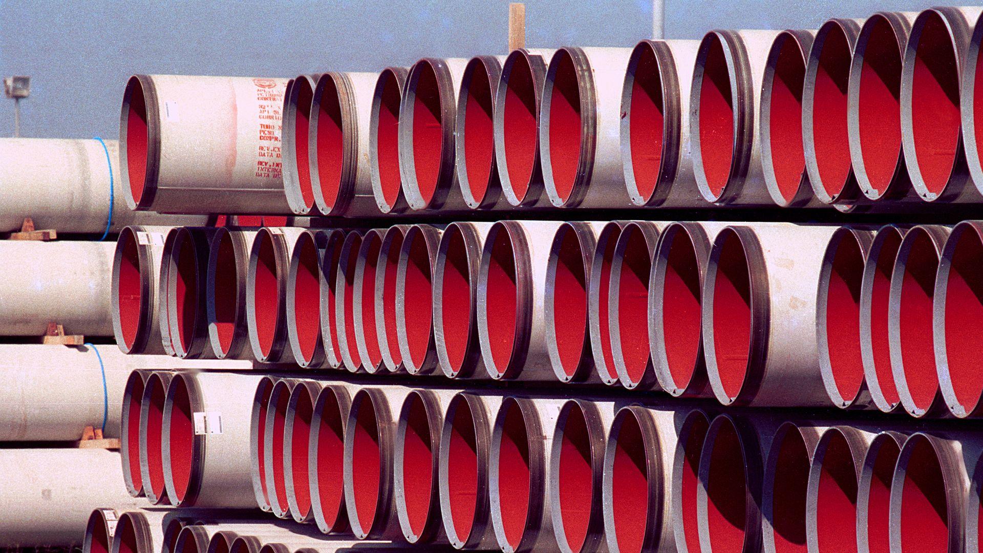 Tubos para construção de gasodutos usados pela Petrobras para o transporte de gás