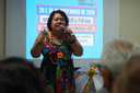 A organizadora do Encontrão de Contadores de Histórias no ES Sandra Freitas conta histórias há 15 anos