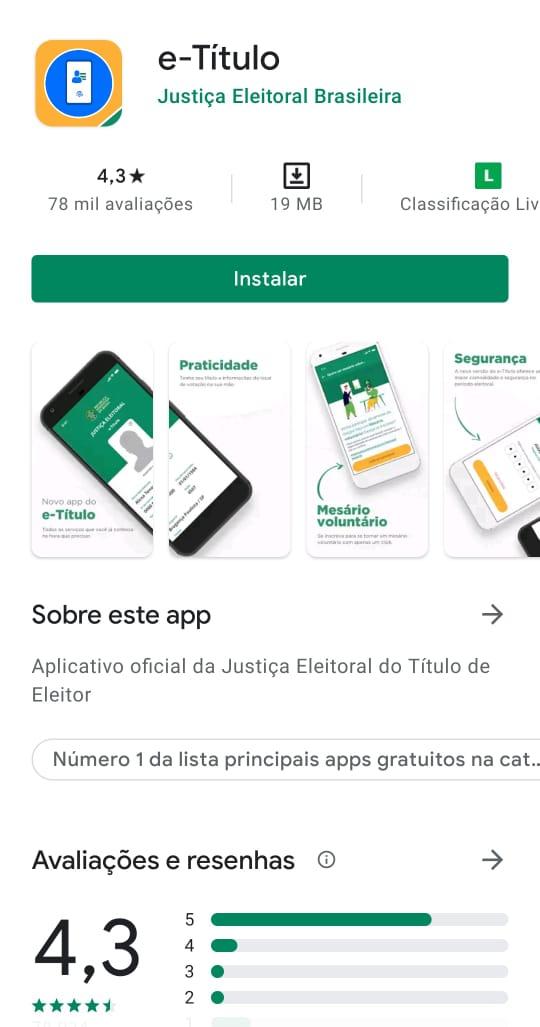 Print da página de instalação do e-Título em um celular Android