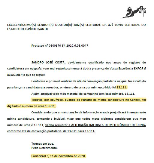 Às vésperas das eleições, o setor jurídico do partido enviou o requerimento de alteração ao TRE, mas já era tarde