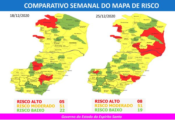 São Mateus, Linhares e outras seis cidades em risco alto de Covid-19 no ES