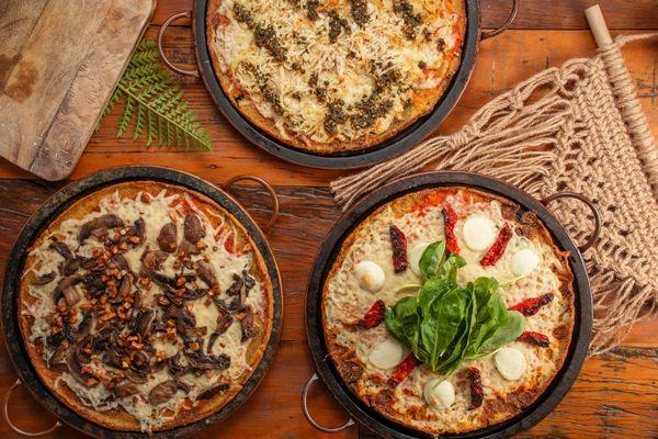 Pizzas servidas en el restaurante Casa Graviola, en Vitória