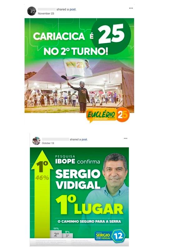 Publicações tinham como objetivo promover um falso engajamento nas redes sociais de Euclerio Sampaio, Sergio Vidigal e Fabrício Gandini