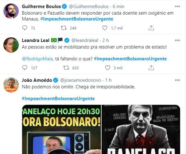 Hashtag no Twitter pede impeachment de Bolsonaro