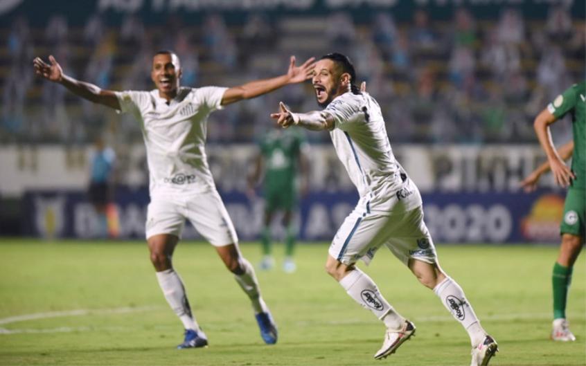 Crédito: Pará comemora gol na vitória do Santos no primeiro turno, na vitória por 3 a 2 (Twitter/Santos