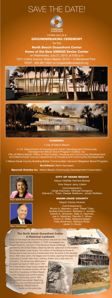 Inauguração do North Beach Senior Center / Unidad of Miami Beach