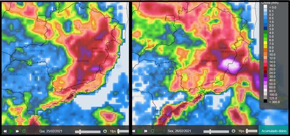 Figura mostra a estimativa de acumulado de chuva entre os dias 25 e 26 de fevereiro