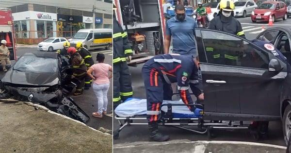 Mulher fica presa às ferragens após acidente em Vila Velha