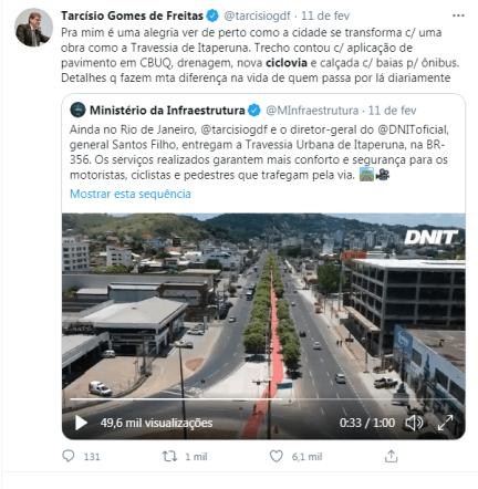 Publicação na conta oficial do Twitter do ministro Tarcísio Gomes de Freitas.