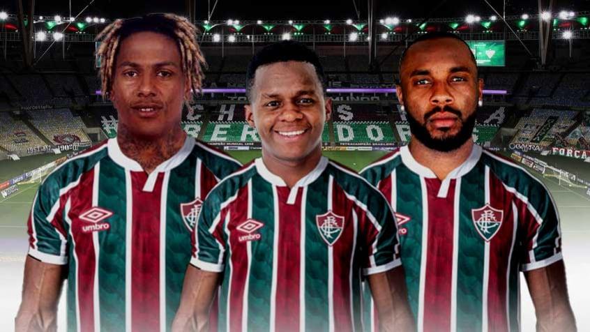 Crédito: Abel Hernández, Cazares e Manoel são reforços do Fluminense para a temporada (Arte LANCE!