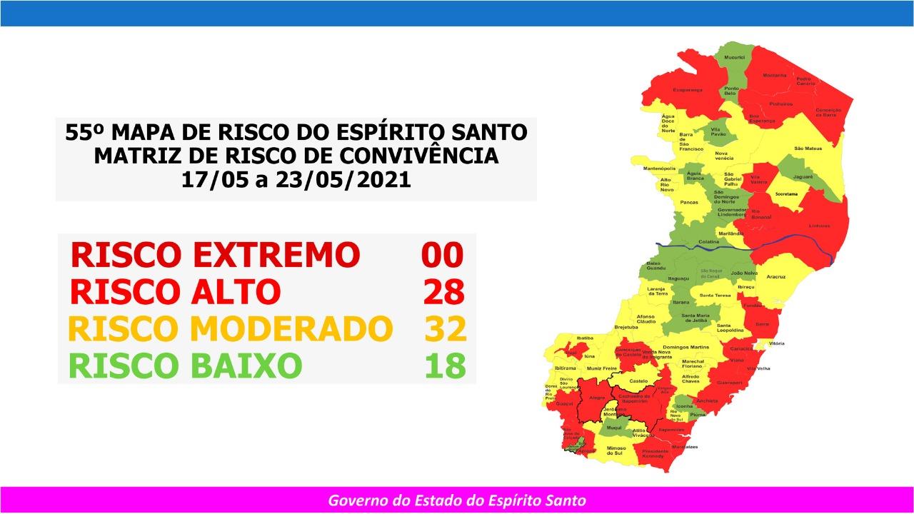 55º Mapa de Risco do Espírito Santo. Crédito: Divulgação/Governo do Estado