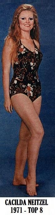 A Miss Espírito Santo 1971, Cacilda Neitzel, top 8 no Miss Brasil 1971